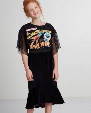 Vestido Infantil de Moletom Pistol Star Riley