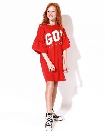 vestido infantil camiseta estampado vermelho confortável