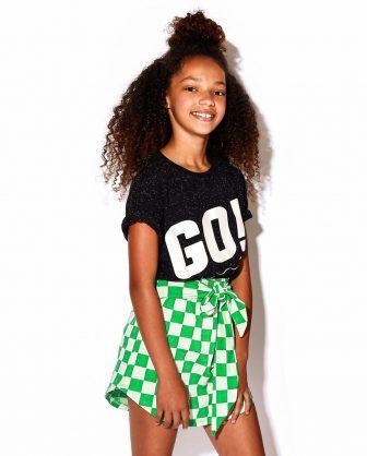 mini saia infantil laço moda feminina