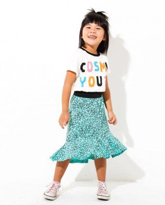 vestido infantil estampado frase colorido saia
