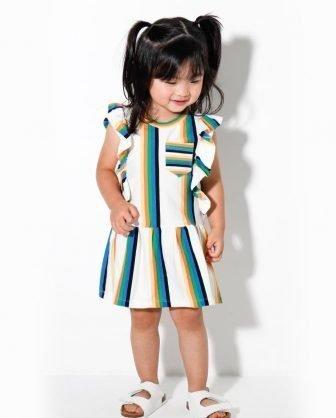 vestido infantil bebê listras verão 2021 meninas