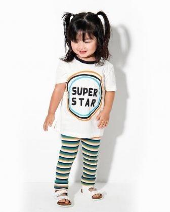 camiseta estampada calça listrada infantil para bebê unissex verão 2021