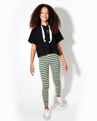 blusa cropped calça legging infantil listrada verão 2021
