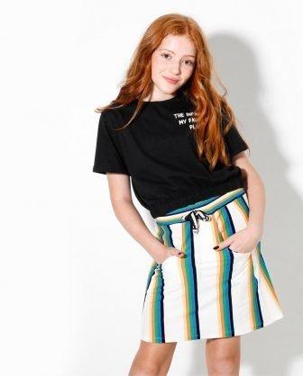 camiseta cropped saia infantil listras verão 2021 meninas