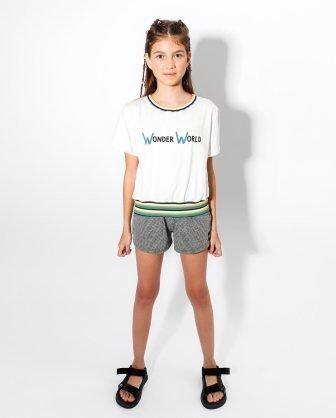 blusa infantil feminina manga curta estampa de frase detalhe listras e short infantil feminino verão 2021