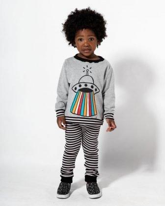 calça listrada legging e blusão de moletom estampado para bebês inverno