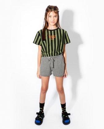 blusa manga curta listrada short infantil verão 2021 meninas