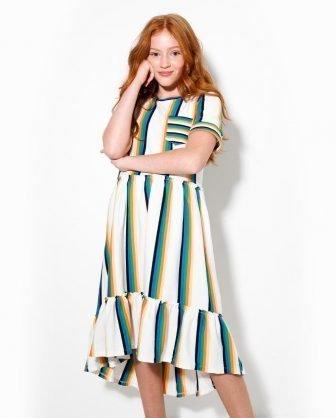 vestido infantil listras verão 2021 meninas