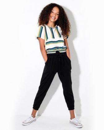 blusa cropped listrada e calça infantil feminina meninas verão 2021
