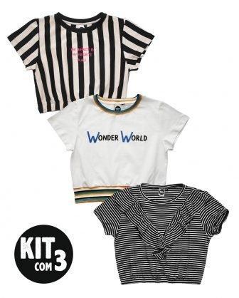 kit blusas cropped infantil feminina meninas