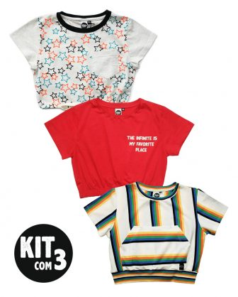 kit com 3 blusa infantil feminina cropped