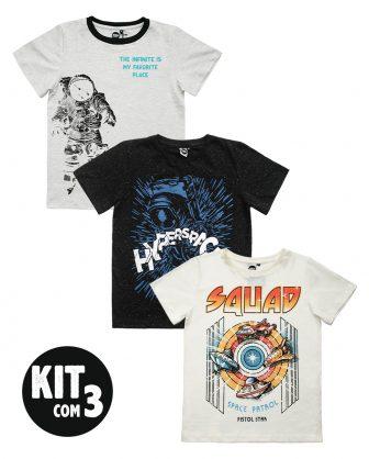 kit camisetas unissex infantil